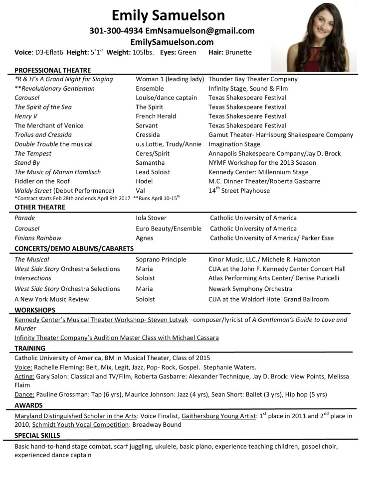 musical theatre resume template these templates can be used for